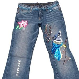 Switch Embroidered Distressed Low Rise Jeans Bird